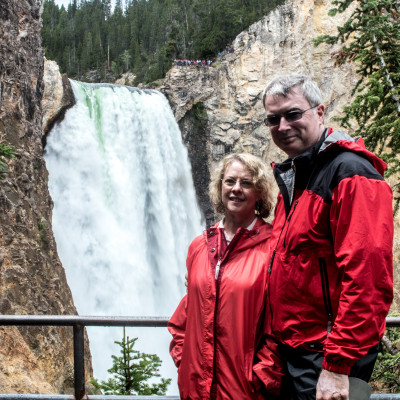 VerDel and Mike at Lower Yellowstone Falls
