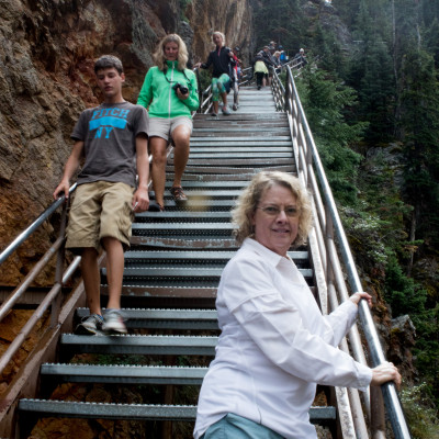 VerDel climbing Uncle Tom's Trail from Lower Yellowstone Falls observation Deck