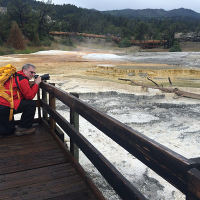Mike at Mammoth Hot Springs