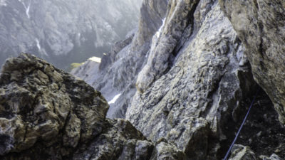 The Crawl, looking down into South Fork of Cascade canyon (2000 ft exposure <gulp>)