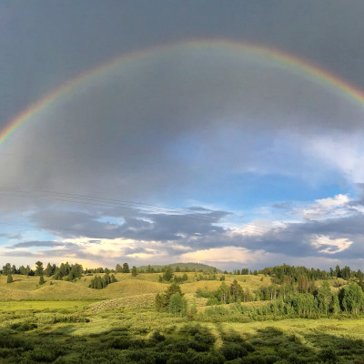 Double rainbow greeting us on  the way to Lodge