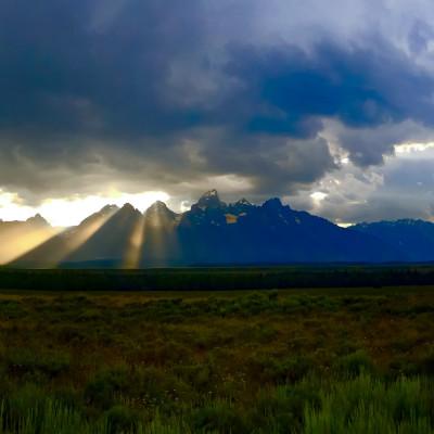 Sunset over Tetons